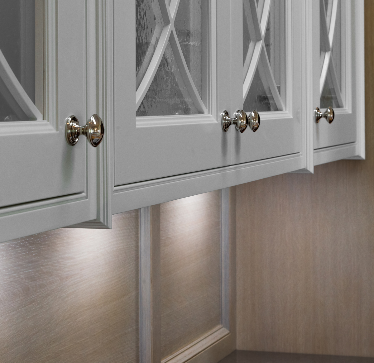 Arbor Mills Beaded Inset White Cabinetry with Glass