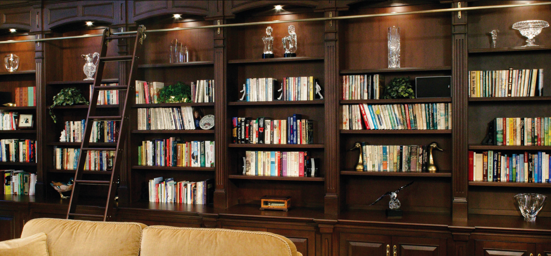 Arbor Mills Custom Cabinetry Libraries with rolling ladder