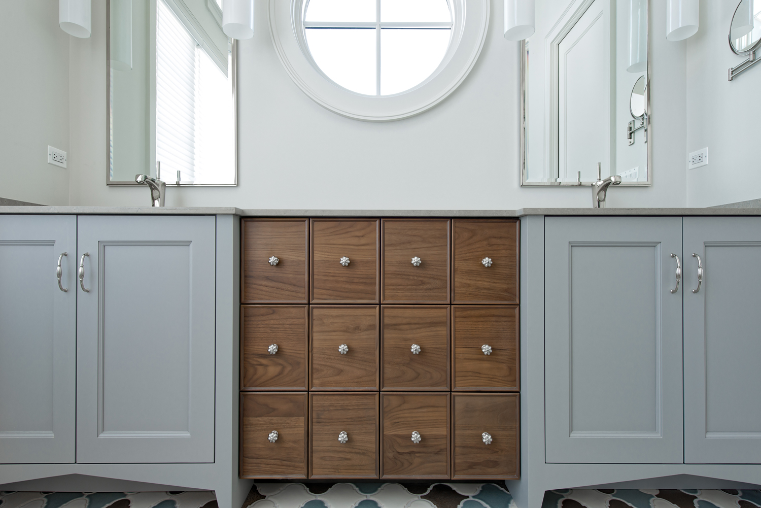 Arbor Mills Transitional Vanity with Furniture Accents