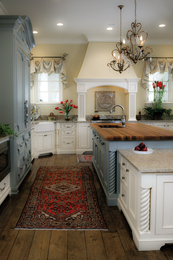 French Country Blue and White Inset Kitchen by Arbor Mills
