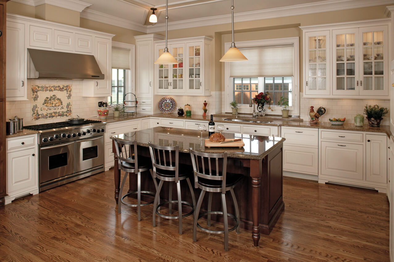 Custom Kitchen Cabinetry In Crisp Whites And Warm Wood Tones