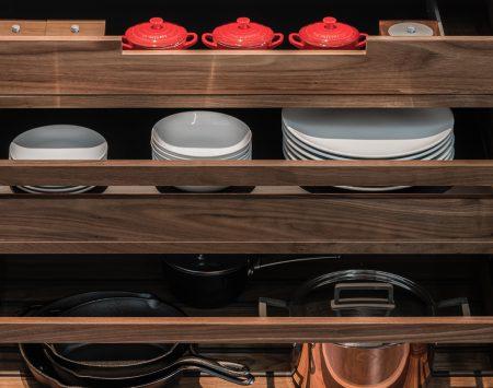 custom cabinets with pot pan organization